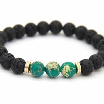 Friendship Bracelet | Lava and Green Imperial Jasper Stone Beads