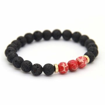 Sibling Bracelet | Lava and Red Imperial Jasper Stone Beads 2