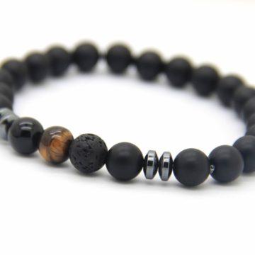Good Luck Bracelet | Matte Black Agate Onyx Tiger Eye Lava Stone Beads 2