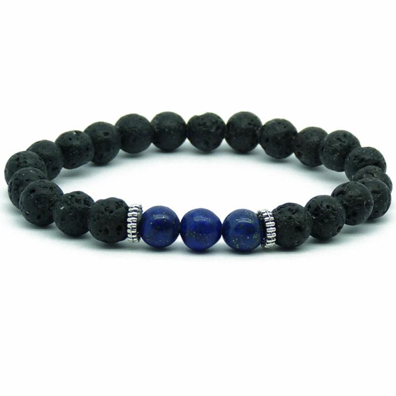 Strength And Wisdom Bracelet   Lava And Nahcolite Stones Beads