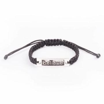 Silk Threaded Adjustable Believe Bracelet